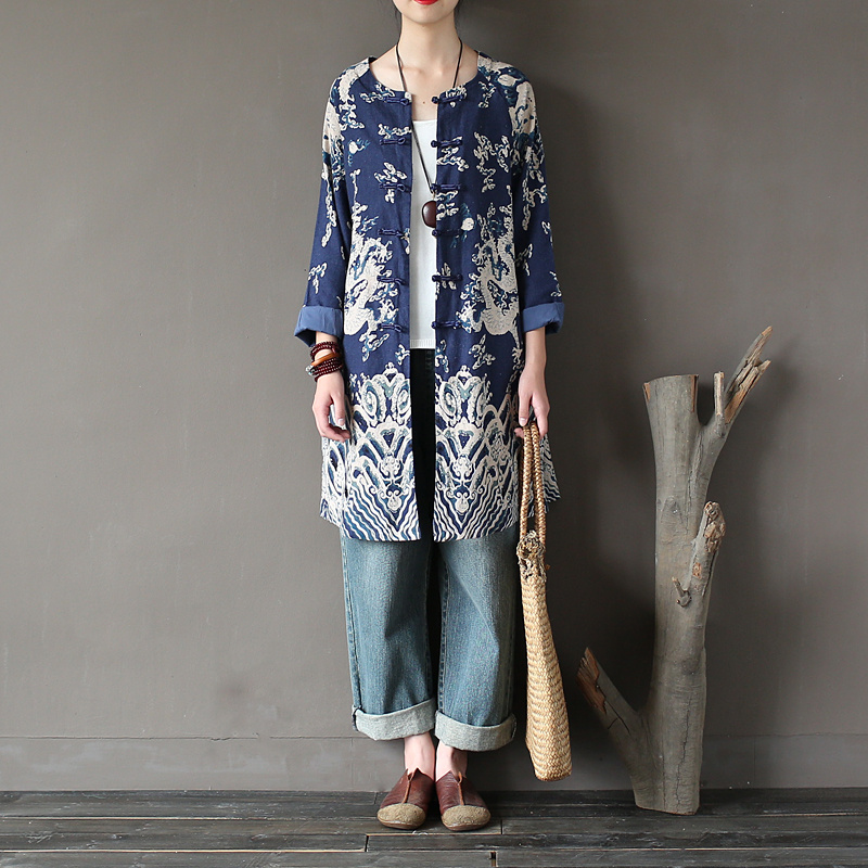 O Neck Long Sleeve Chinese Style Women Trench Coat Autumn Vintage Fashion Print Long Coats