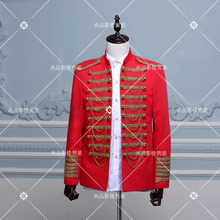Black gold European palace coat costumes Men's European army formal dress show clothing Men singers stage show clothing