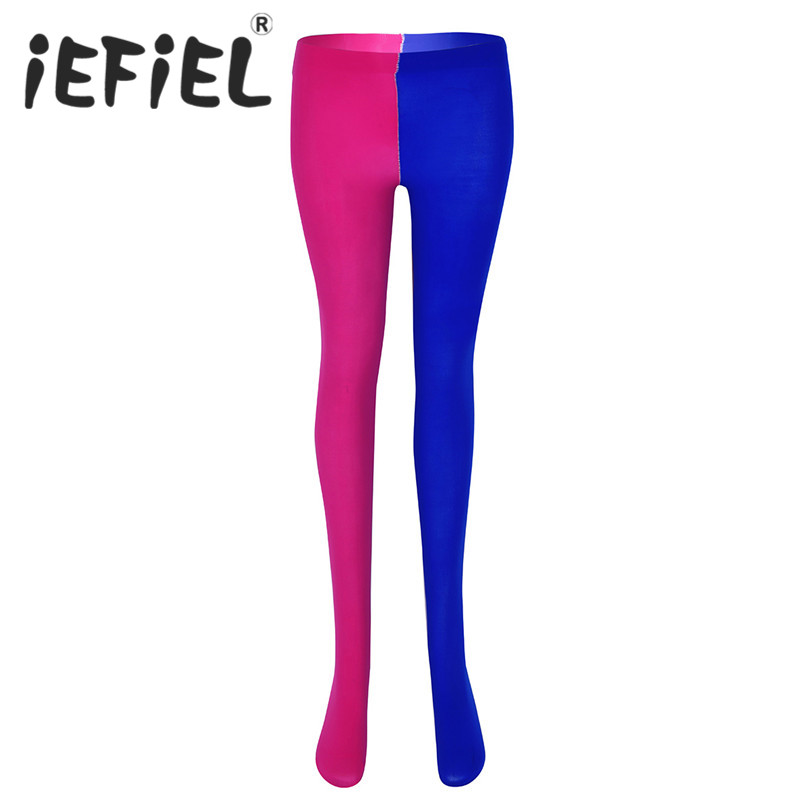 iEFiEL Fashion Unisex Adults Women Mens Two Toned Costume Spandex Full Footed Tights with Reinforced Toe Under Pants