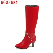 Zipper Soft PU Faux Leather Red Thin High Heels Chain Fashion Style Womens Over Knee High Boots Lady Autumn Shoes