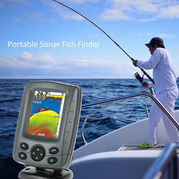 "Portable Sonar Fish Finder 3.5"" LCD Boat Finder 0.6M to 80M echo sounder 200KHz/83KHz Duel Beam Fish Detector Depth Locator"