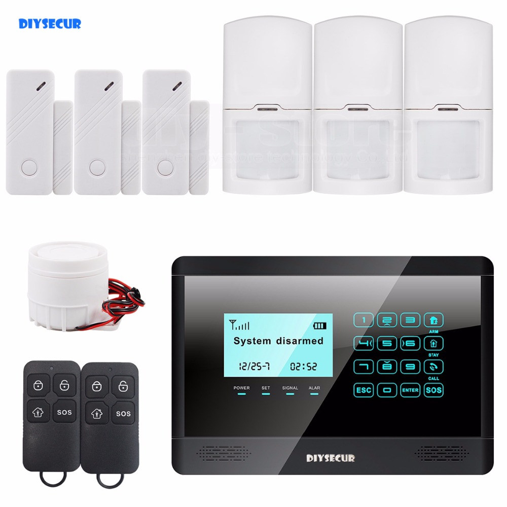 DIYSECUR Touch Keypad Wireless GSM SMS TEXT Auto dial Smart Home Security Alarm System LCD 850/900/1800/1900MHz M2BX yl 007m2g touch keypad gsm sms wireless home security burglar alarm system rfid access control 850 900 1800 1900mhz 433mhz