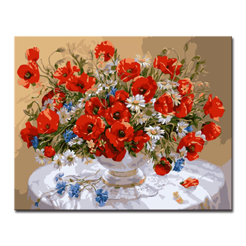 Framework DIY Red Flowers Oil Painting By Numbers Drawing Kits ...
