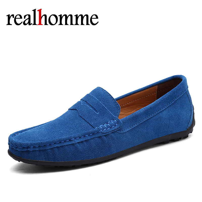 RealHomme Genuine Leather Men Loafers 2018 Casual Men's Casual Shoes Slip On Breathable Driving Shoe Male Peas Shoes Plus Size discount 2017 men velvet loafers genuine leather slip on rivets flat casual shoes driving mocassin wedding party shoes plus size