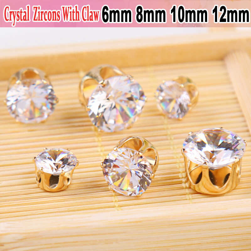 Clear Crystal AAA Clear Crystal Cubic Zirconia Stone Claw Zircon Rhinestones Round Cut Loose CZ DIY Jewelry Findings Supplies