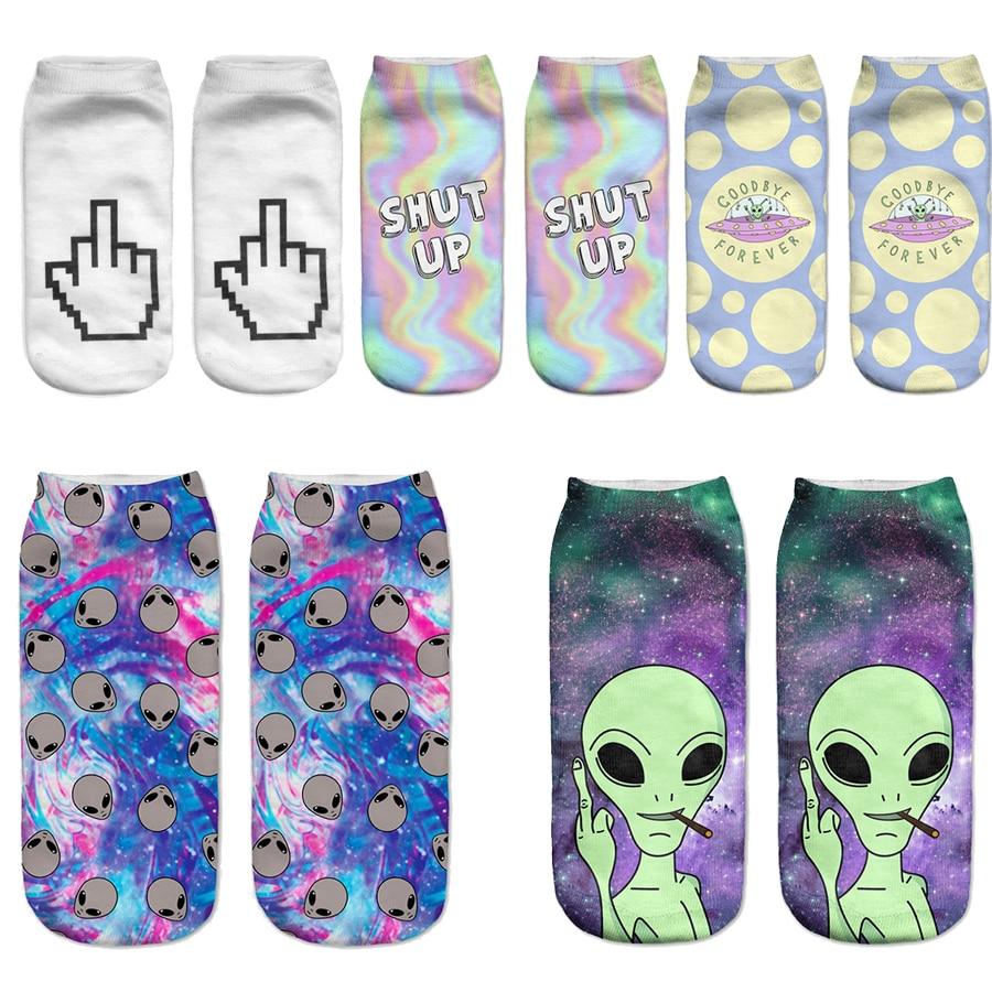[COCOTEKK]Creative Novelty Alien Women   Socks   Dot polka Planet Space   Socks   Universe Galaxy Funny   Socks   Ghost Gesture Calcetines