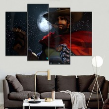 High Quality Canvas Print Moon Night Pistol Hero McCree Picture 4 Piece Modular Style Type Modern Popular Wall Decor Game Poster