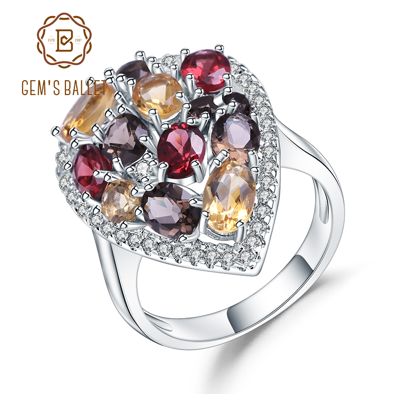 Gem's Ballet Multicolor Natural Garnet Citrine Smoky Quartz Cocktail Ring 925 Sterling Silver Gemstone Rings For Women Jewelry
