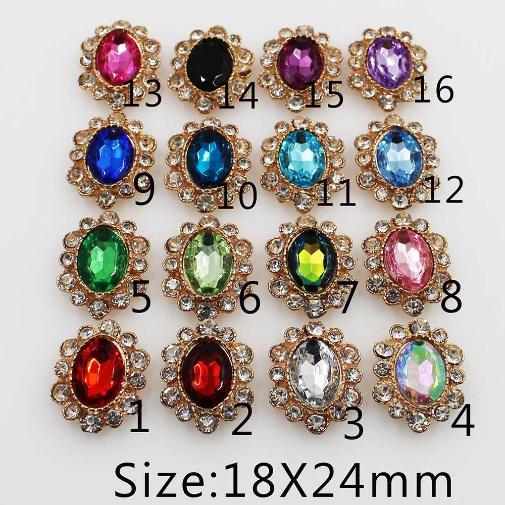 2018 New 10pc oval golden Alloy Rhinestone Button For Clothing Wedding  decoration button Girl hair accessories 3e413ccb30df