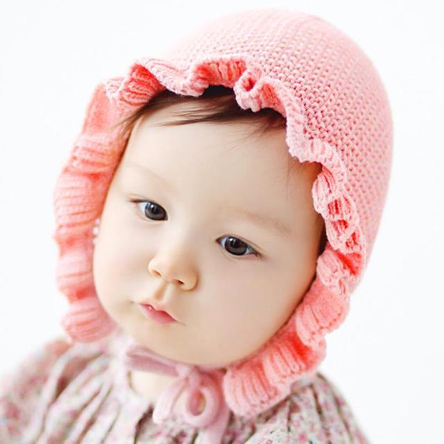 f61c99822b3 Spring Autumn Baby Warm Frill Knitting Hat Cute Princess Baby Caps Newborns  Boys Girls Warmer Crochet