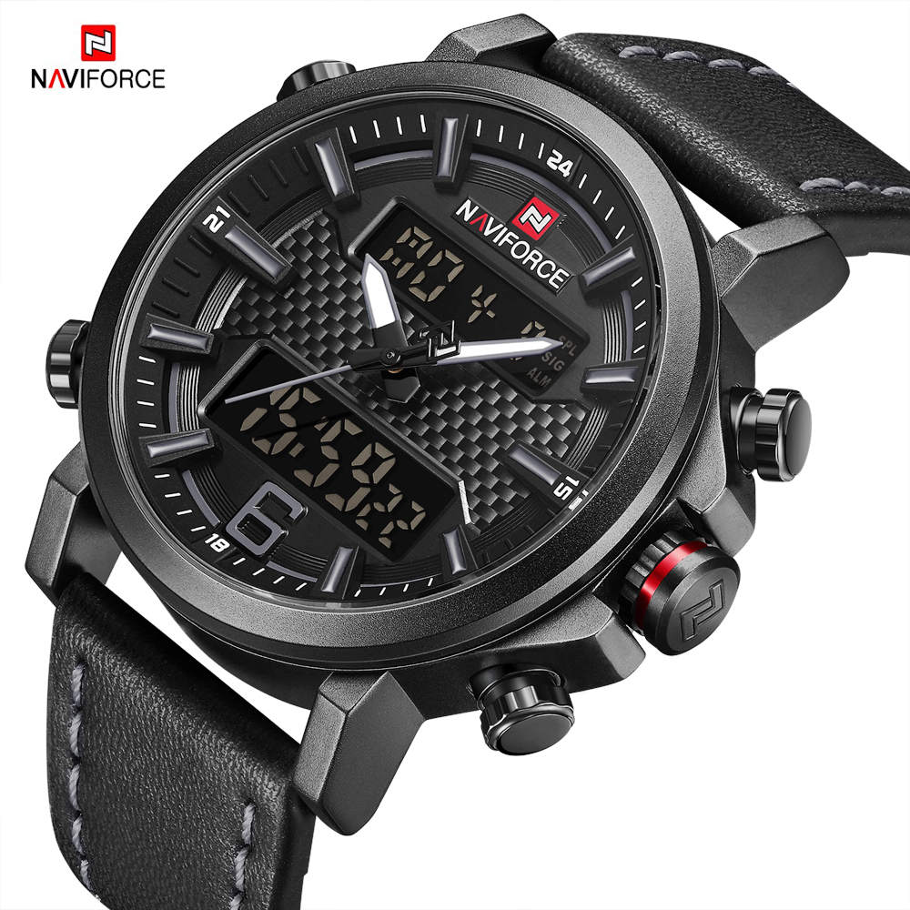 NAVIFORCE Men Watch Digital Wristwatch Military Man 2018 New Arrival Watches Leather Sport Date Week Display Male Quartz Clock цена и фото