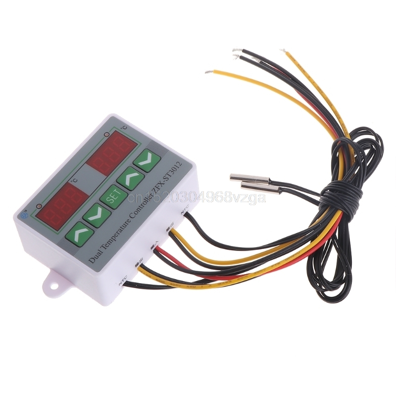 220 V 12 V 24 V Numérique Double Contrôleur de Température Thermostat Incubateur Double Sonde D21 DropShipping