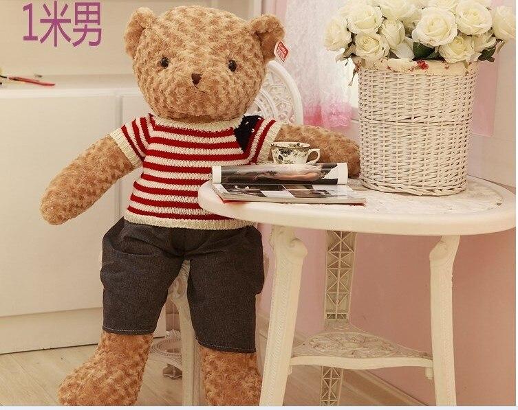 Gros ours en peluche jouet en peluche garçon ours jouet avec les étoiles et les rayures tissu cadeau d'anniversaire poupée environ 100 cm