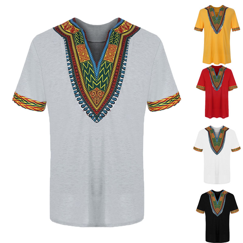 6 Colors Men Summer African Dashiki Print T-Shirt Loose Pullover Cotton V-Neck Short Sleeve Casual Hip-Hop Top Tee Shirt For Men
