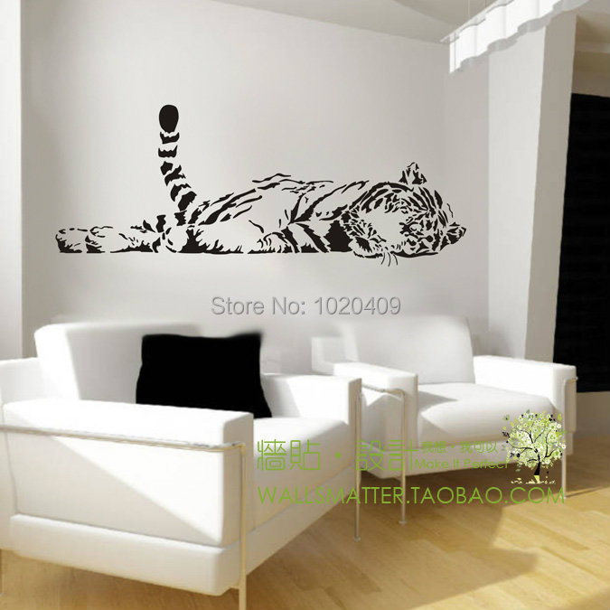 Animal tiger wall sticker decoration fashion cute bedroom living waterproof sofa glass cabnet home decal decor family 100*40cm