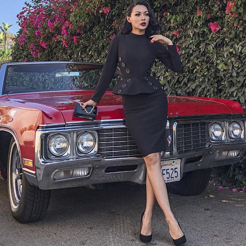 ... 40- le palais vintage 50s elegant buttoned peplum waist wiggle pencil  dresses in black pinup ... c2fe60a9d652
