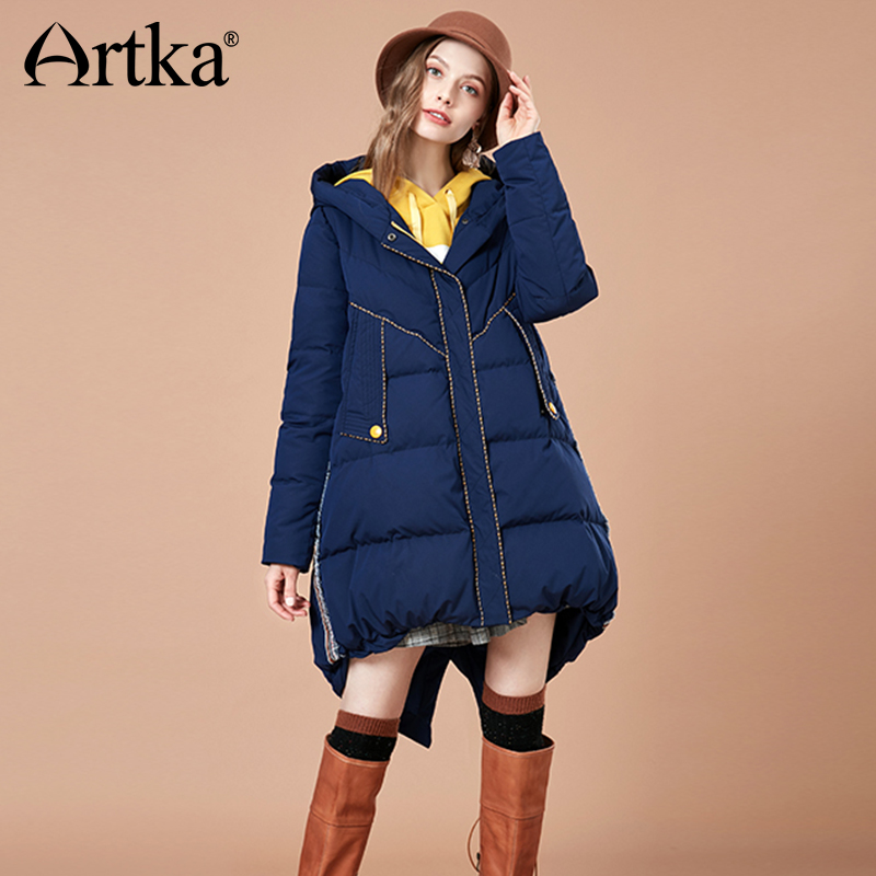 ARTKA New Fashion 2018 Winter Women's 90% White Duck Down Jacket Long Down Coat Star Letter Pattern Hooded Parka ZK10087D