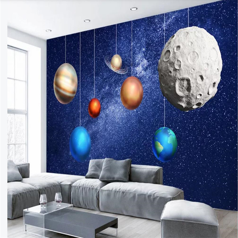 Custom wallpaper universe space planet children 39 s room background wall high grade waterproof material in Wallpapers from Home Improvement