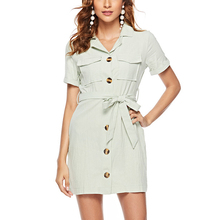GUMPRUN Women Summer Shirt Dress Fashion Turn-down Collar Short Sleeve Button Pocket Dress 2019 Casual Office Lady Mini Dresses giyu women shirt dress with sash turn down collar dresses pocket vestido casual office lady empire robe femme