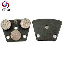 цена на RIJILEI 6PCS Triple Round Segment diamond grinding disk Diamond Grinding Shoe Plate Disc For Grinding Concrete Floor JX05