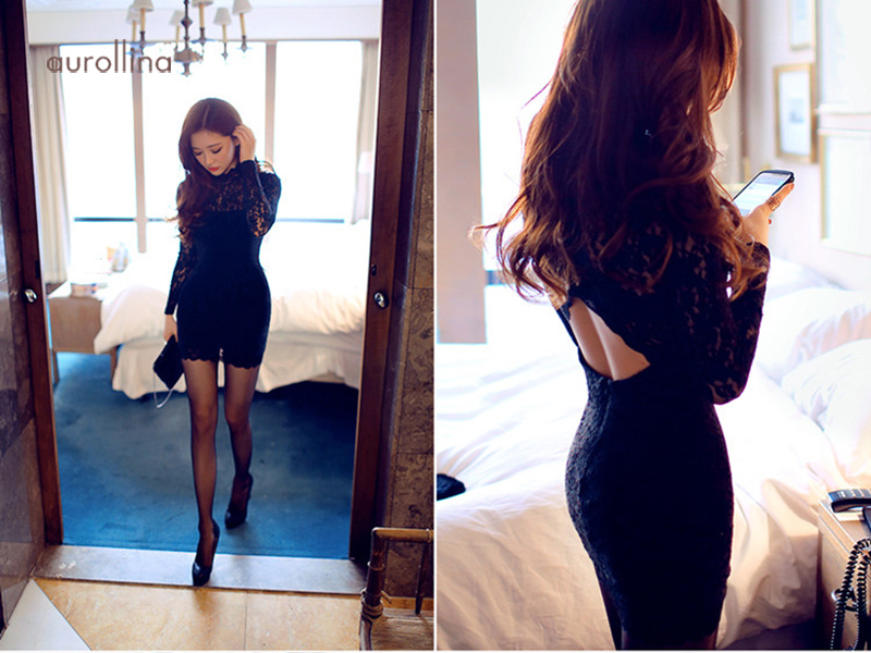 Black Hollow Out Lace Dress Charming Female Curve Party Outfit Formal Mini Skirt (9)