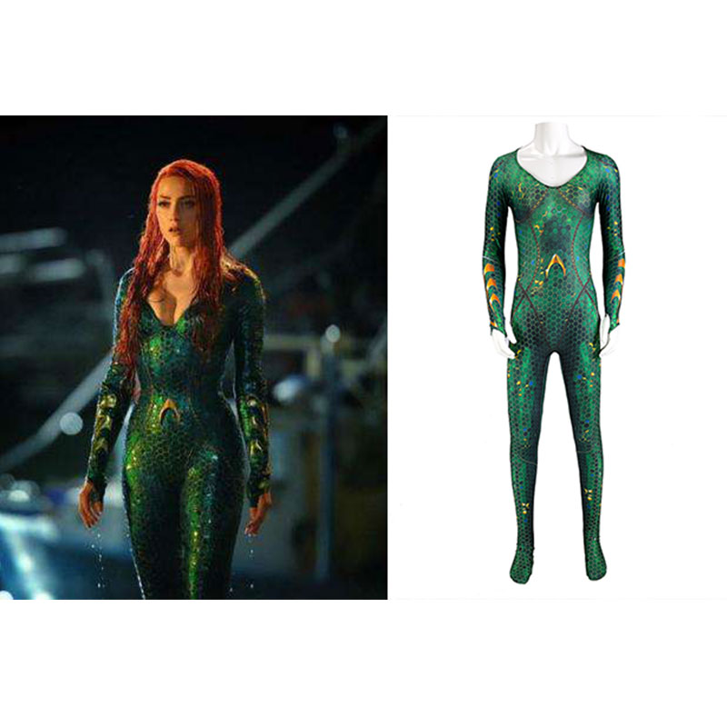 2018 Cosplay Aquaman Mera Cosplay Costume Adult Women Mera Jumpsuit Outfit Halloween Carnival Cosplay Costumes