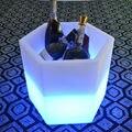 Bateria de lítio recarregável de controle remoto ABERTO PE CUBO Y-pote de Vinho Colorido Balde de Gelo À Prova D' Água LED Flower Pot