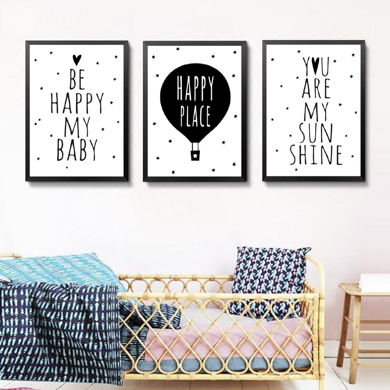 Nordic Art Cartoon Poster Charming Canvas Painting Motivational Quotes Wall Picture Modern Children Room Decor HD2250