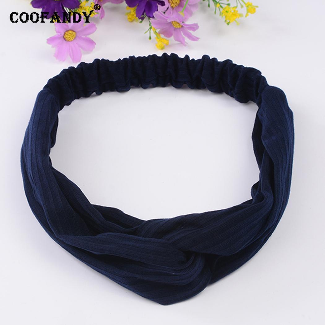 Temperament Women Headband Knit Cross Bow Wild Sport Solid Color Hair Band