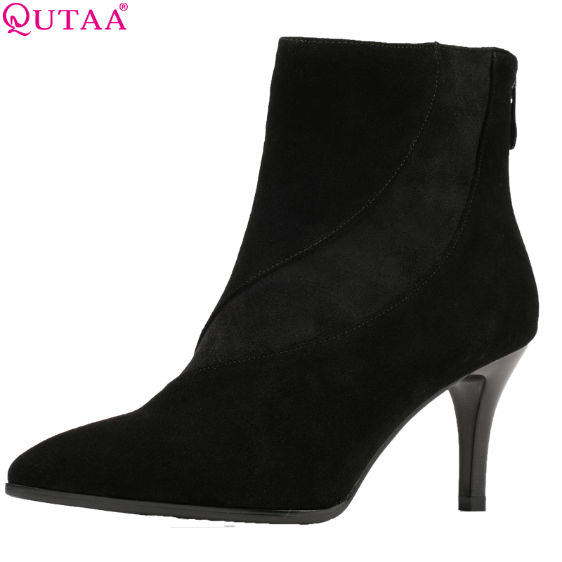 QUTAA 2019 Women Ankle Boots Fashion Zipper Thin High Heel Pointed Toe Winter Shoes Women Motorcycle Boots Big Size 34-39QUTAA 2019 Women Ankle Boots Fashion Zipper Thin High Heel Pointed Toe Winter Shoes Women Motorcycle Boots Big Size 34-39
