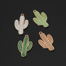 10Pcs/Lot Oil Alloy Colorful Cactus Charms for Making Jewelry DIY Original Bracelet Charm Pendant Jewelery 26*16mm(China)