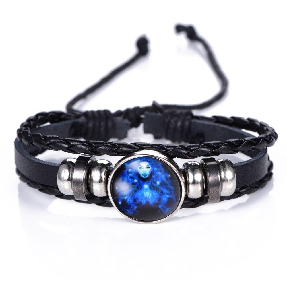 DropShiping Gemini Cancer Leo Virgo Libra Scorpio 12 Constellation Black punk Leather Bracelet Zodiac Bracelet for Men Women