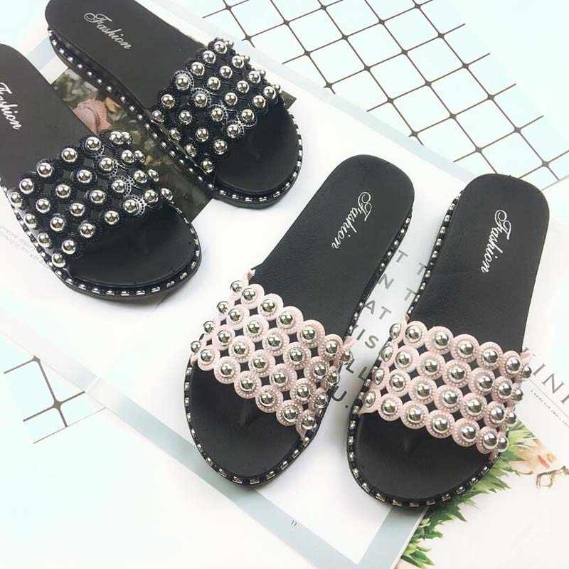 Fashion bling cutout slippers woman pink love rivets open toe muffin sandals ladies beading wedges shoes flipflops mujer slides