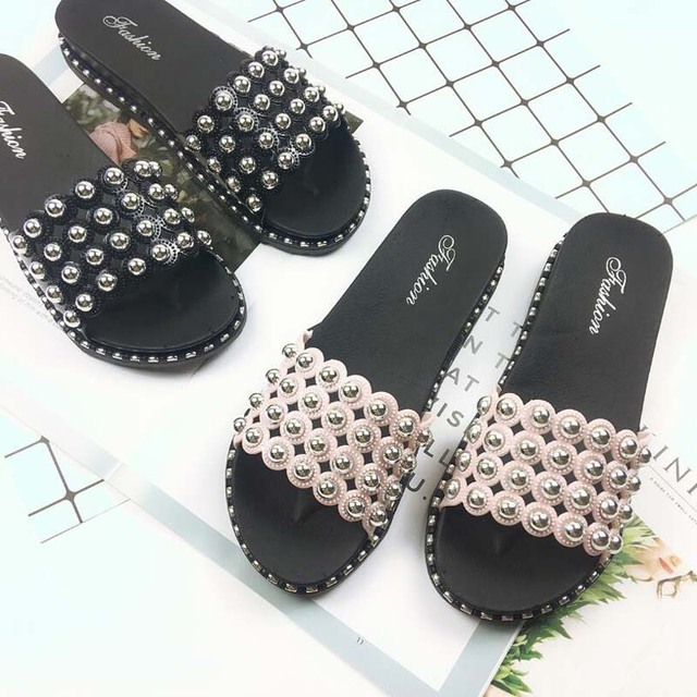 a02ee027126 Fashion bling cutout slippers woman pink love rivets open toe muffin  sandals ladies beading wedges shoes flipflops mujer slides