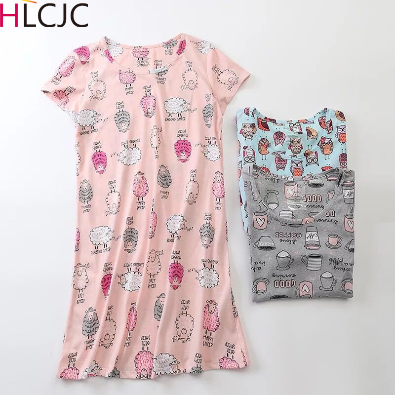 Summer Cotton Short Sleeve Cartoon Pyjamas Long Loose Sweet Plus Size Women Sleepwear Korean   Nightgown     Sleepshirts   Sleep Dress
