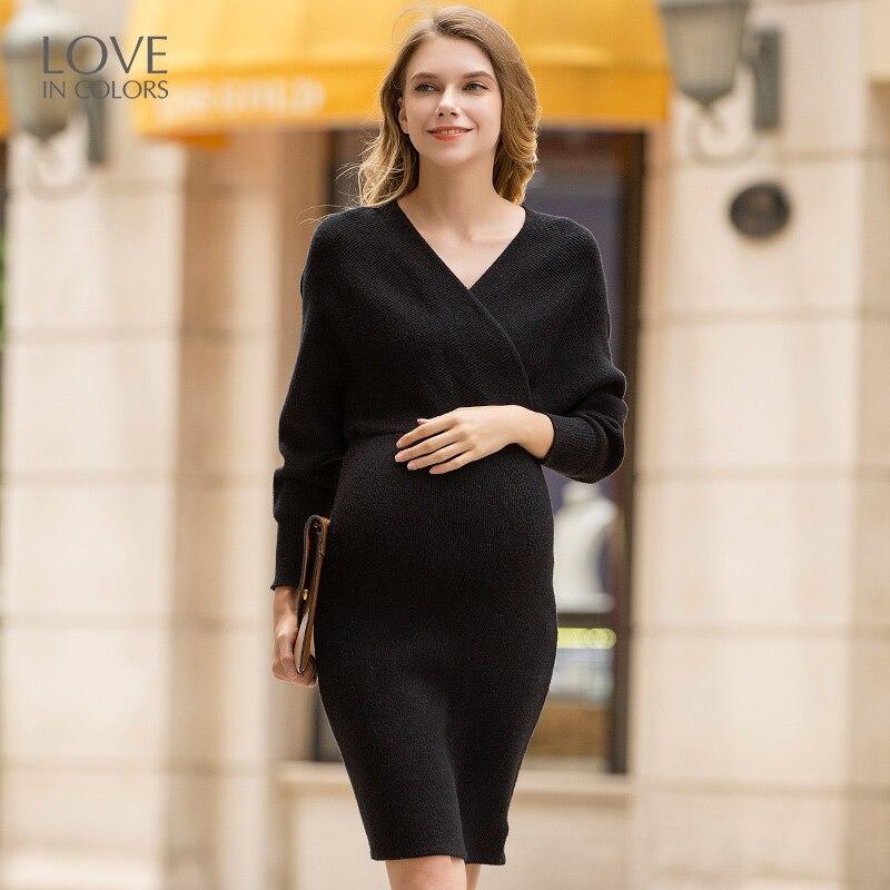 Loveincolors Maternity Women Sweater Dress Slim V-Neck Feeding Soft Fashion Pregnant Clothes