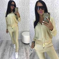 Glitter Tracksuit Women Set Autumn Two Piece Set Top And Pants 2 Piece Set Women Outfits Sportswear conjunto femenino