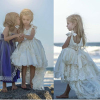 White Ivory Custom Flower Girls Dresses Tiered Lace Pearls Ribbon 2017 Beach High Low Girls Pageant