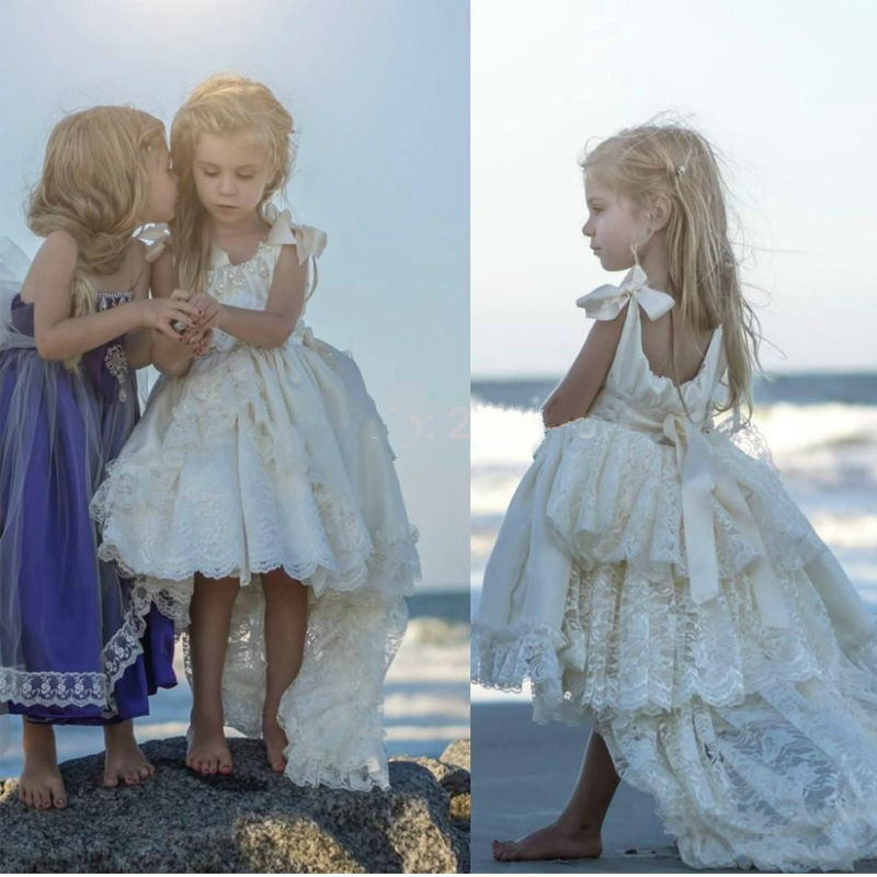 New Beach Flower Girl Dresses White Ivory First Communion Dress For Little Girl High Low Ivory White Lace Kids Birthday Dress vintage lace panel high low dress