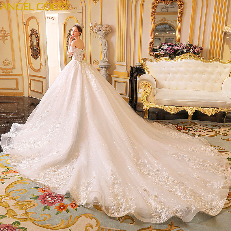 Roman Wedding Gowns: Luxury Marriage Dress Robe De Mariee Long Tail Sweetheart
