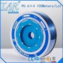 100 เมตร/ชิ้นคุณภาพสูงนิวเมติกท่อPU OD 6 มม.ID 4MMท่อPU6*4 ยูรีเทนท่อสีฟ้า