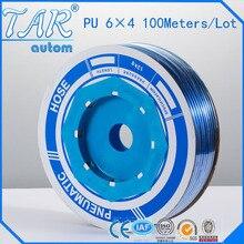 Модель 100, высококачественный пневматический шланг, полиуретановая трубка OD 6 мм ID 4 мм, Пластиковая Гибкая Трубка PU6 * 4, Полиуретановая трубка синего цвета