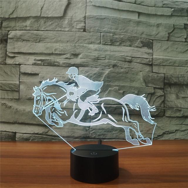 Прохладный Верховая езда 3D ночник Инструменты лампа 7 цветов USB LED 3D иллюзия лампы д ...