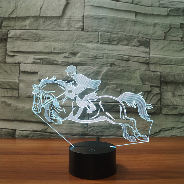 Cool Riding Horse 3D Night Light Instruments Lamp 7 Colors LED USB 3D Illusion Lamp For  ...