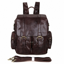 New Fashion Men's Genuine Leather Backpack Men School Backpack Bag Men's Travel Bags Leather Book bag Male backpacks LI-1675