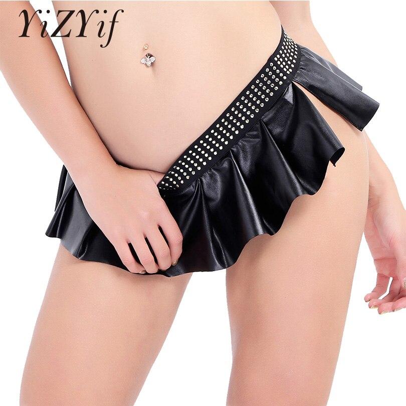 YiZYiF Miniskirt Women Studded Mini Skirt Pleated Side Split Embellished Shirts Night Club Performance Sexy Club Skinny Skirts