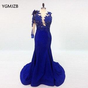 Image 2 - Une épaule longue élégante robes de soirée sirène avec manches perlées bleu Royal robes formelles saoudien arabe robe de soirée