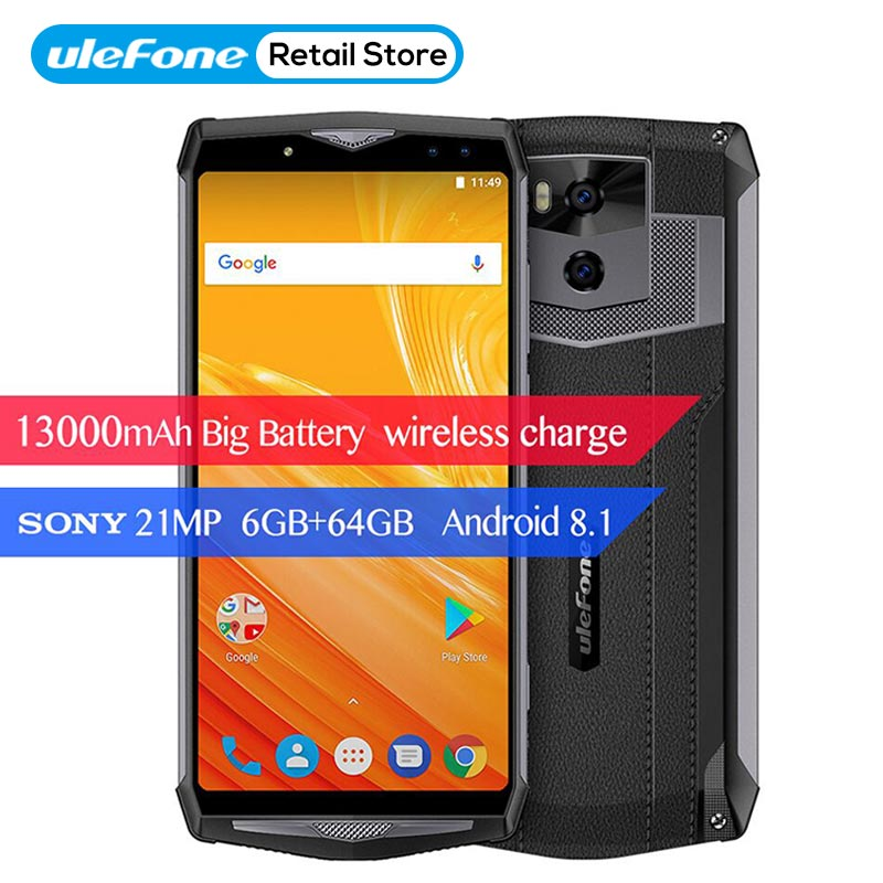 Ulefone Puissance 5 6.0 18:9 4G Smartphone 13000 mAh 6 GB + 64 GB MTK6763 Octa base Android 8.1 Sans Fil chargeur Quad Cames 21MP Visage ID