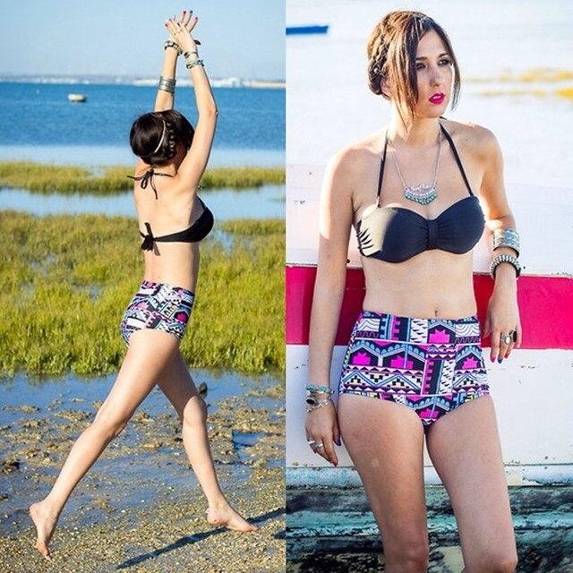 3b39d0ac0f High waisted swimsuit 2018 female swimming suit black halter top bikinis  geometric bottoms tankini swimwear large size beachwear