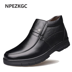 NPEZKGC New Handmade Men Genuine Leather Winter Boots High Quality Snow Men Boots Ankle Boots For Men